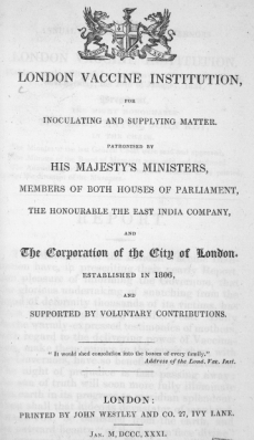 London Vaccine Institution title-page