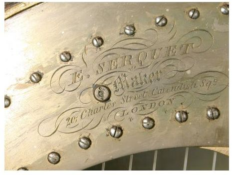 Name plate on a harp by Serquet (@National Trust inv. nr. 884817)
