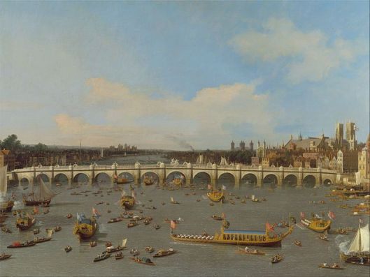 Canaletto, Westminster Bridge, with the Lord Mayor's Procession on the Thames (Source: Google Art Project via Wikipedia)