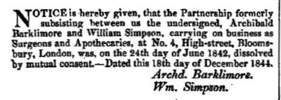 The London Gazette, 24 December 1844