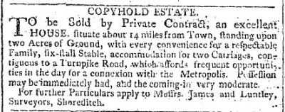 Advertisement in The Morning Chronicle,  31 August 1804