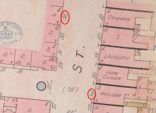 The 1882 Goad insurance map with William Benson's house number 35 (was 64) circled and on the opposite side number 34 (was 16) his father's shop
